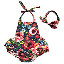 Baby Girl Swim Photography Prop Jumpsuit Ruffled Romper Bloomer PP Pants 12-24M