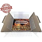 grillist Grill Basket   DISHWASHER SAFE Stainless Steel Vegetable Grilling Basket with HeatHandler Silicone Pad- Heavy Duty for Charcoal, Gas Grills, BBQ - Great Wok to Grill Veggies, Seafood, Meat