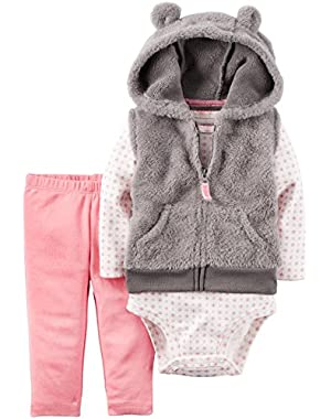 Baby Girls' 3-Piece Hooded Vest Geo Set