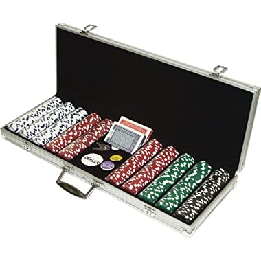 Poker Chip Set for Texas Holdem, Blackjack, Gambling with Carrying Case, Cards, Buttons and 500 Dice Style Casino Chips (11.5 Gram) by Trademark Poker
