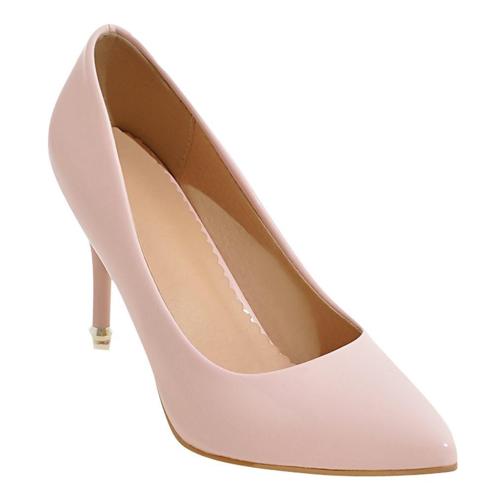 Mee Shoes Damen Stiletto spitz Lackleder Pumps Pink