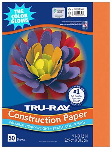 "Tru-Ray Heavyweight Construction Paper, Electric Orange, 9"" x 12"", 50 Sheets"
