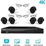 LaView 8 Channel Ultra HD 4K Home Security Camera System with 6 x 8MP IP Bullet Cameras (3840 x 2160), 100ft Night Vision, Weatherproof Expandable Surveillance Camera System NVR 2TB HDD