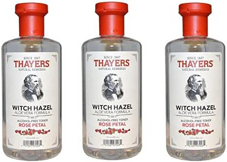 Thayers Alcohol-Free Rose Petal Witch Hazel with Aloe Vera 12 Oz (Pack of 3)
