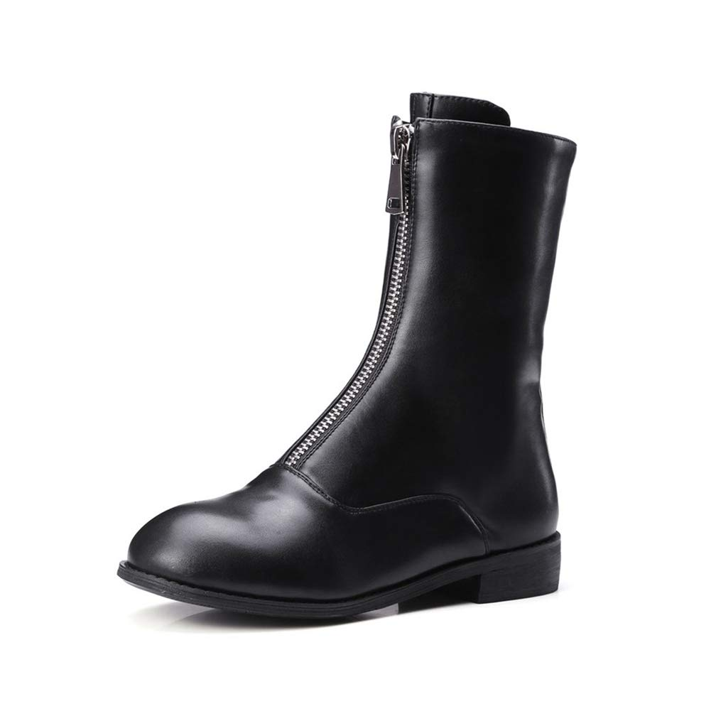 Black Hoxekle Front Zipper Flat Women Mid Calf Boots Fashion Ladies Round Toe Boots Spring Autumn Short Casual Boots