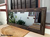Frame Out Large Bathroom Mirror Black wood mirror/ reclaimed wood mirror/ rustic wood mirror /wall mirror /bathroom mirror /decorative mirror/ large mirror/ full length mirror