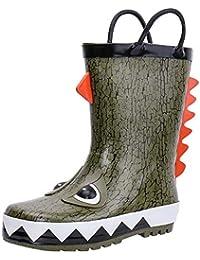 Kids Waterproof Rubber Rain Boots Girls, Boys & Toddlers Fun Prints & Handles