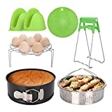 Instant Pot Accessories Set,iTrunk 6-Pcs with Egg Steamer Rack,Steamer Basket,Non Stick Springform Pan, Silicone Oven Mitts, Dish Clamp, Silicone Insulation Pad for 5,6,8Qt Pressure Cooker
