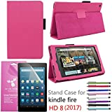 "Amazon Fire HD 8"" 2017 Case, EpicGadget(TM) Auto Sleep/Wake 7th Gen Fire HD 8 PU Leather Folding Folio Case with Built in Stand For Fire HD 8 inch (2017 Release) + 1 Screen Film + 1 Pen (Hot Pink)"