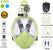 Ufanore Diving Mask Set for Child, Kids Full Face Snorkel Mask New Version 2.0,Foldable 180° Panoramic View, F