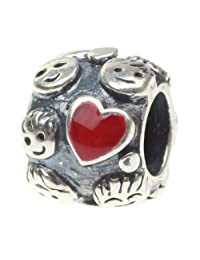 Beads Hunter 925 Sterling Silver Charms Bead Family Love Princess and Mom with Kid Fit European Bracelet Snake Chain
