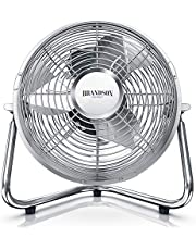 Brandson Windmachine, retrostijl, ventilator in koper-design, staande ventilator, 32 watt, tafelventilator, staande ventilator, hoge luchtdoorvoer, traploos kantelbare ventilatorkop