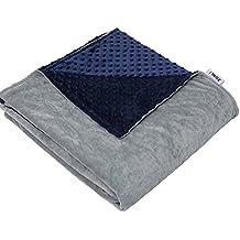 ZonLi Removable Duvet Cover for Weighted Blanket | Grey/Navy | Minky Dot Duvet Cover | 60''x80''