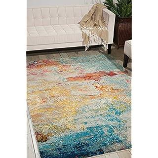 "Nourison Celestial Modern Abstract Area Rug, 6'7"" x 9'7"" (7x10), Sealife Multicolor Grey"