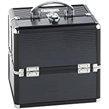 "Beautify Black Makeup Cosmetic Organizer Train Case 10"" Professional Aluminum Storage Box with Lock and Chrome Handles"