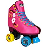 Roller Skates for Girls | HYPE uGOgrl Kids Quad Roller Skates for Indoor / Outdoor skating | Comfortable, Quality Build, Fun & Cute (Pink with flowers)