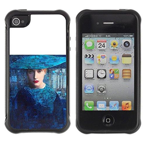 Apple Iphone 4 / 4S - Blue Woman Fashion Art Haut Couture