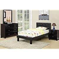 Modern twin bed that features a twin sized frame with a black faux leather upholstered headboard and footboard with accent tufting