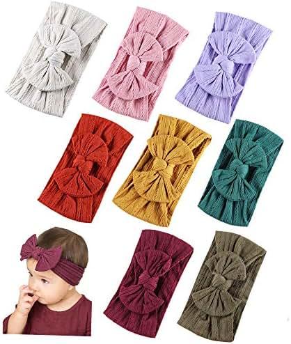 Baby Nylon Headbands Hairbands Hair Bow Elastics for Baby Girls Newborn Infant Toddlers Kids (Super soft-Q)