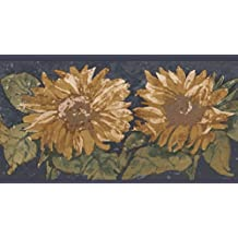 Yellow Flowers Navy Blue Retro Wallpaper Border Paint by Design, Roll 15' x 5.25''