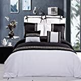 LUXURIOUS Astrid Black & White Embroidered 7 Piece (7PC) King Size Comforter Cover (DUVET COVER) Set, Ultra Soft Single Ply Wrinkle Free Brushed Microfiber.
