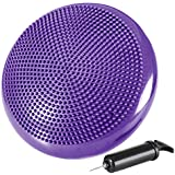 """REEHUT Stability Balance Disc Trainer w/Free 9-Page Ebook - 13"""" Diameter Wobble Cushion w/Air Pump for Workout, Therapy, Fitness and Training Exercise (Purple)"""