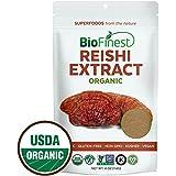 Biofinest Red Reishi Mushroom Extract Powder - 100% Ling Zhi (Ganoderma Lucidum) Superfood - USDA Certified Organic Raw Vegan Non-GMO - Boost Stamina Immunity - For Smoothie Beverage Blend (4 oz)