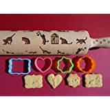 Players cats & kittens pattern rolling pins and cookie cutter