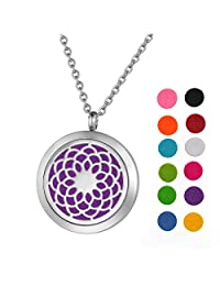 Stainless Steel Aromatherapy Essential Oil Diffuser Necklace with Chrysanthemum for Women,Silver Tone