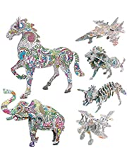 3D Coloring Puzzle Set,6 Pack Puzzles with 12 Pen Markers, Art Coloring Painting 3D Puzzle for Kids (A Models)
