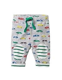 Baby Boys Cartoon Print Cotton Pants Drawstring Elastic Sweatpants
