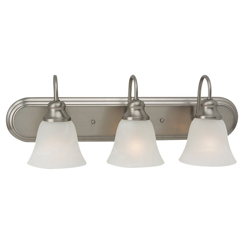 Sea Gull Lighting 44941-962 Bath Vanity with Alabaster Glass Shades, Brushed Nickel Finish