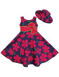 Sunny Fashion 2 Pecs Girls Dress Sunhat Bow Tie Flower Summer Beach