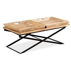 Festnight- Tavolino da caffè in Legno Massello di Mango/Tavolino Salotto 110x55x42 cm