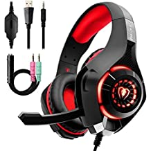 Gaming Headset for PC PS4, Stereo Surround Sound Gaming Headphones with Noise Cancelling Microphone Volume Control LED Lights for Xbox One Laptops Mac Smartphone (RED)