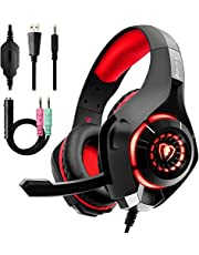 Gaming Headset for PC PS4, Stereo Surround Sound Gaming Headphones with Noise Cancelling Microphone Volume Control LED Lights for Xbox One PS5 Laptops Mac Smartphone (RED)