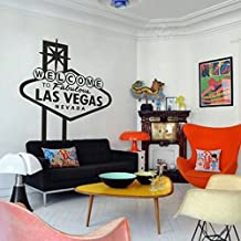 Welcome to Fabulous Las Vegas Nevada Fashion Bedroom Dorm Living Room Wall Quotes Vinyl Words Decor Removable Words Art (Large,Black)