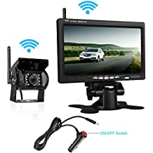 "DohonesBest Backup Camera Wireless and 7"" HD LCD Monitor System kit For RV/Truck/Pickup/Trailer/Camper/5th Wheel,Built in Reverse Camera Grid Lines optional with IP69K Waterproof IR Night Vision"