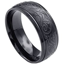 Konov Jewelry Mens Womens Stainless Steel Ring, Engraved Florentine Design Charm 8mm Band, Black, with Gift Bag, C23585