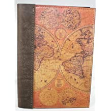 "Leather Travel Journal - Notebook - Diary - Logbook with a Printed Old World Map on front cover, 5"" X 7"" with Lined Paper,Full Grain, Saddlery Leather"
