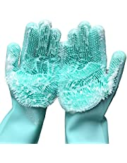 "Magic Saksak Washing Cleaning Gloves, 1 PAIR Reusable Silicone Brush Scrubber Gloves Heat Resistant for Dish washing, Kitchen Bathroom Cleaning, Pet Hair Care, Car Washing. 2PACK (13.6"" Large) (Green)"