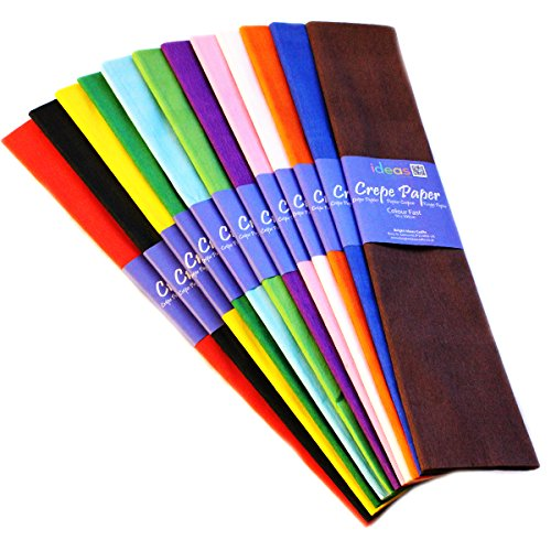 Crepe Paper 3 Mtrs x 50cm  Assorted Colours Pack of 12 Folds