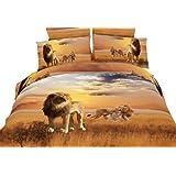 Dolce Mela DM456K African Lions Safari Duvet Cover Set, King