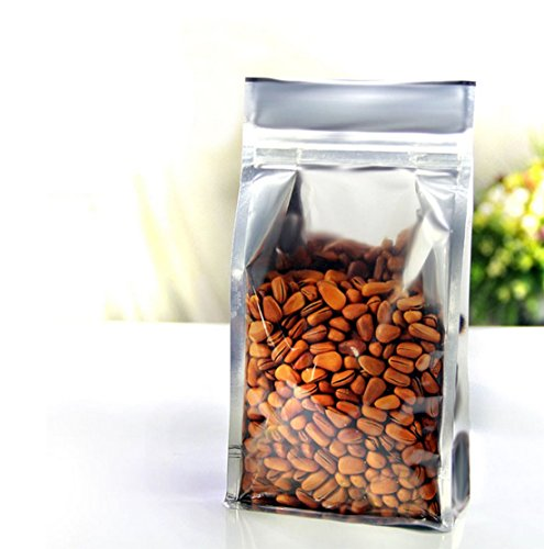 """HAPLL 20 Pcs Zipper Resealable Stand Up Pouch /Snack Packing Bag for Food Snack Tea and Etc, Travel Essential-(Foil,3.94""""7.87"""")"""