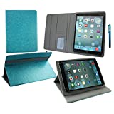 Emartbuy® HipStreet Flare 3 9 Inch Tablet Universal ( 9 - 10 Inch ) Turquoise Premium PU Leather Multi Angle Executive Folio Wallet Case Cover Grey Interior With Card Slots + Turquoise Stylus