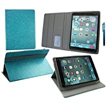 Emartbuy® Hipstreet Pulse 9 Inch Tablet PC Universal ( 9 - 10 Inch ) Turquoise Premium PU Leather Multi Angle Executive Folio Wallet Case Cover Grey Interior With Card Slots + Turquoise Stylus