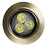 "American Imaginations AI-888-588 3.5"" W Round Brass-Led Recessed Pot Light, Antique Brass"
