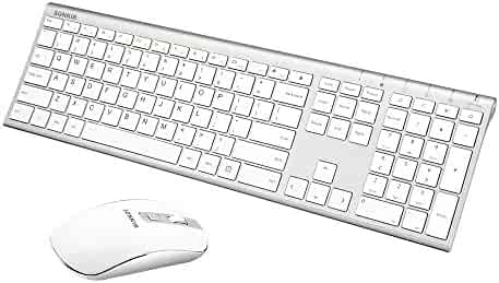 Wireless Keyboard and Mouse, Sonkir K-18 2.4GHz Ultra Thin Rechargeable Aluminum Full Size Keyboard Mouse Set for Windows, Laptop, PC, Notebook (Silver)