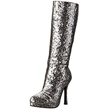 Ellie Shoes Inc Women's Knee High Glitter Boots Silver Size 8