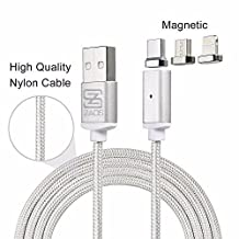 USB Type C Cable,Magnetic Charger Cable USB to Lightning+Type C+Micro 3 in 1 Multiple 2.4A Quick USB Charging Cable for iPhone X 8 7 7 plus/ 6 6s Plus/iPad Samsung Galaxy S6 S7 S8 plus Lg V20 Gen2